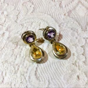 Vintage 80's citrine amethyst sterling earrings